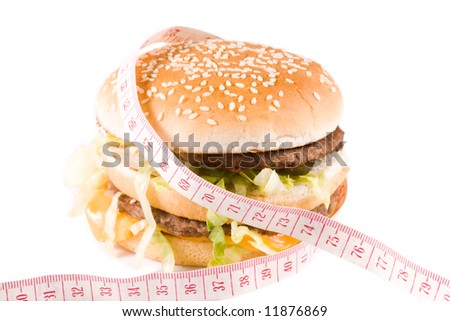 Bread with fried meat, cheese, onion and lettuce isolated on a  white background.