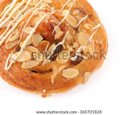 bread with nuts and caramel isolated on white background