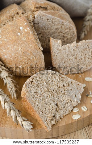 bread with oat flakes close up
