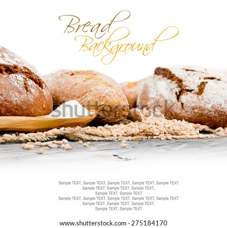 Bread with rolls and seeds on burlap background with white space for text