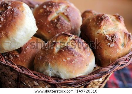 Bread with sea salt milk and herbs - stock photo