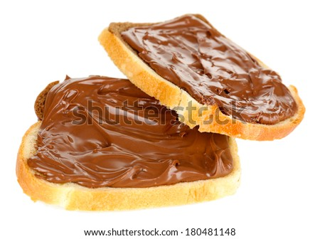 Bread with sweet chocolate hazelnut spread isolated on white - stock photo