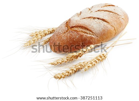 Bread with wheat isolated on white background
