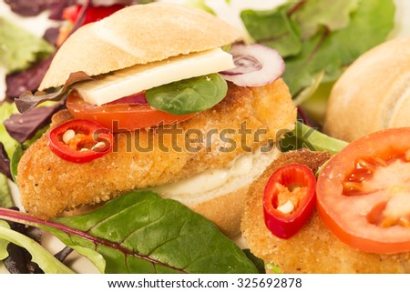 Breaded chicken breast sandwiches close up - stock photo