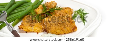 Breaded Fish Fillets. Panoramic image. Selective focus. - stock photo