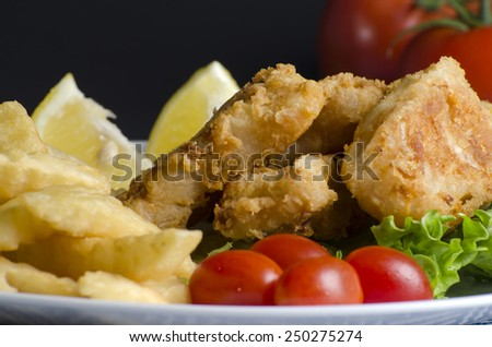 Breaded fried fish fillet and potatoes with lemon - stock photo