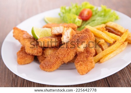 breaded meat and french fries