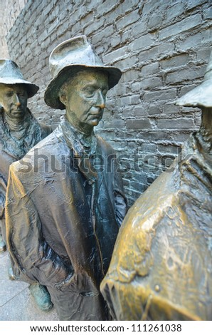Breadline sculpture - Roosevelt Memorial in Washington DC - stock photo