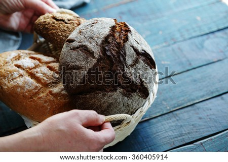 breads in wicker basket, food close-up - stock photo
