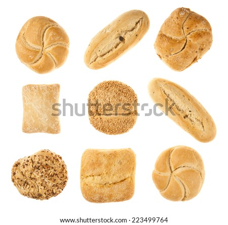breads isolated white background - stock photo