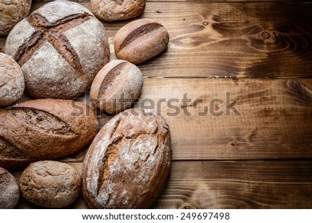 breads on the wooden - stock photo