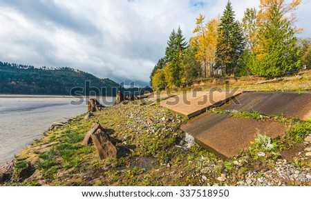 break concrete road,scenic view in Rocky Point Campground - stock photo