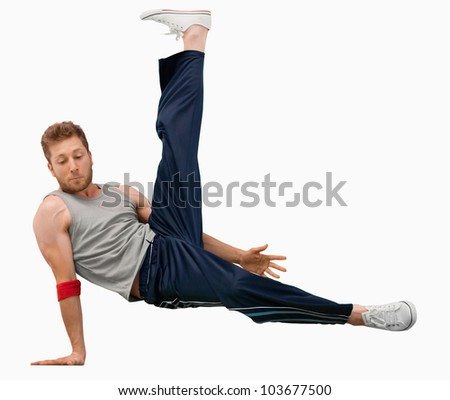 Break dancer performing a move against a white background