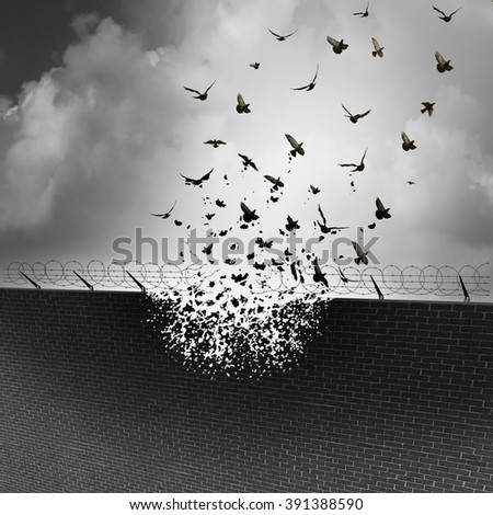 Break down walls and remove barriers and tarrifs as a business concept for open free trade with no levy or excise tax as a security wall being destroyed transforming into a group of flying birds. - stock photo