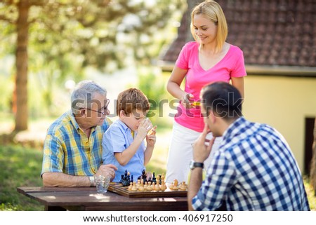 break from a game of chess with family in park - stock photo
