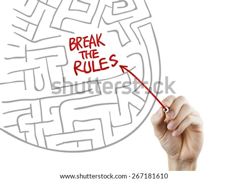 break the rules written by hand on a transparent board - stock photo