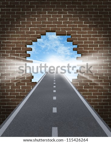 Break through to opportunity concept with a highway going through a broken brick wall to a shinning light of success on a sky background as a business icon and a symbol for a new life vision, - stock photo