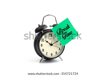 Break time concept with classic alarm clock - stock photo