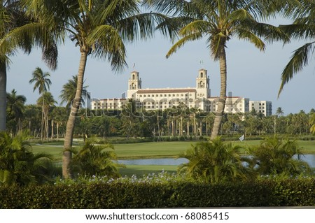 Breakers Hotel showing golf course in Palm Beach, Florida, USA. - stock photo