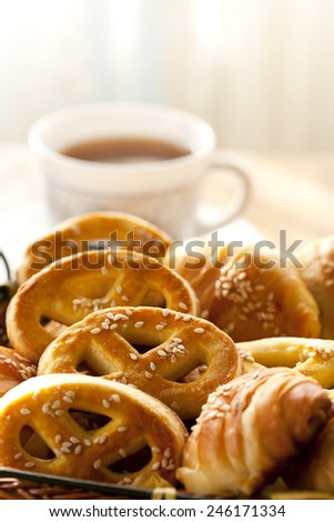 breakfast and coffee - stock photo
