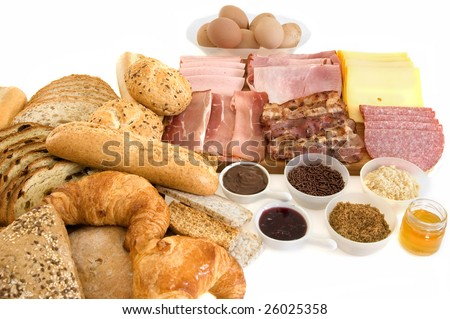 Breakfast arrangement, isolated on white background - stock photo