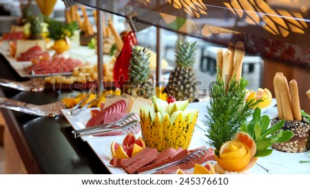 Breakfast At The Hotel . Breakfast Buffet. Buffet Catering Food Arrangement on Table. - stock photo