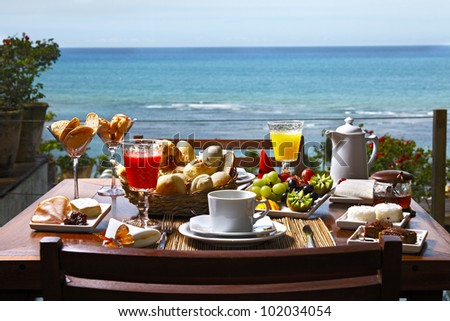 Breakfast at the hotel by the sea - stock photo