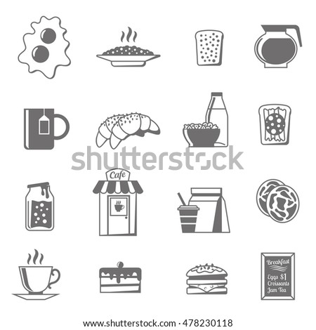 Breakfast black white icons set with croissants tea and jam flat isolated  illustration