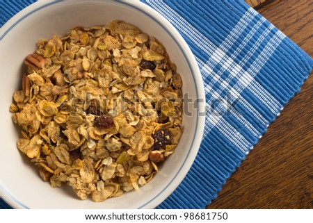 Breakfast bowl with healthy muesli mix - stock photo