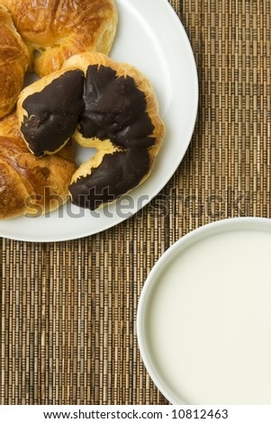Breakfast: bowl with milk and some croissants