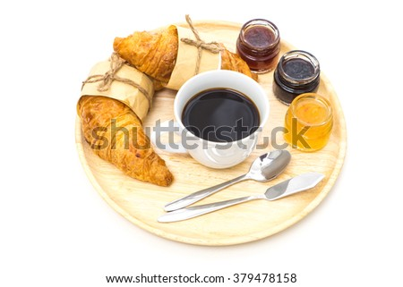 Breakfast, Breakfast set, tray of coffee, croissant, jams, Ready to eat