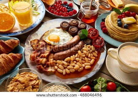 Breakfast buffet full continental english coffee stock for American continental cuisine