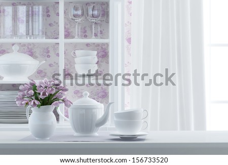 breakfast composition with white service - stock photo