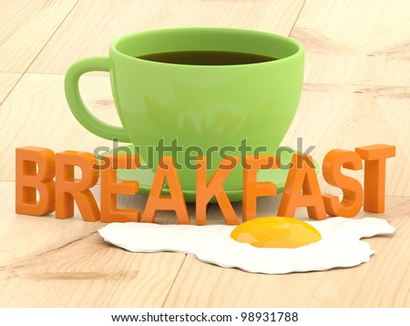 Breakfast concept. Cup of coffee and fried egg - stock photo