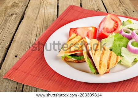 Breakfast, cooked, bbq. - stock photo
