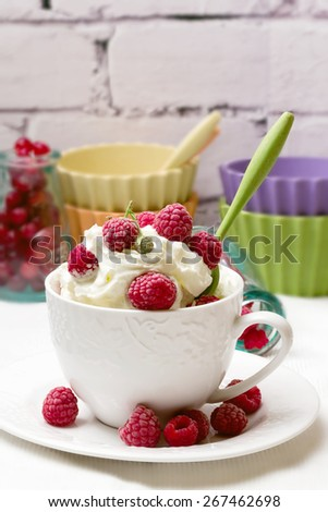 breakfast cottage cheese with raspberry frozen homemade organic healthy food selective soft focus - stock photo