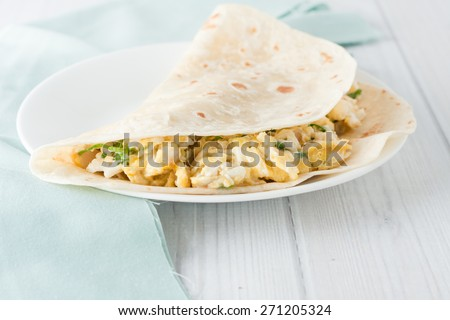 breakfast egg burrito with cheese,  herbs and spices on white plate - stock photo