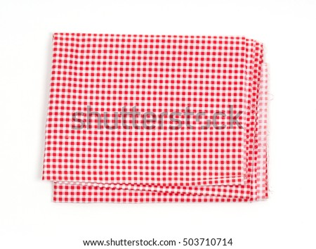 Breakfast fabric texture on white background.