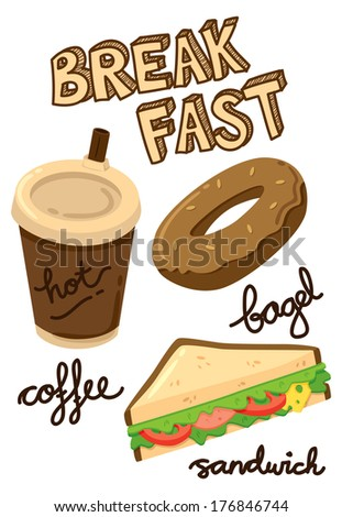 breakfast food and drink - stock photo