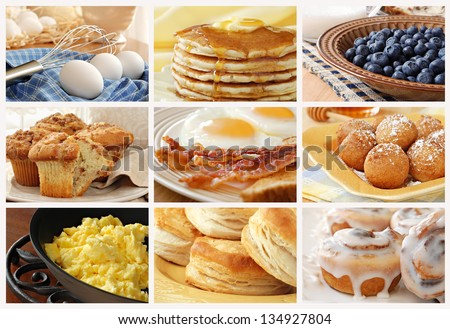 Breakfast food collage includes pancakes, eggs and bacon, biscuits, scrambled eggs, cinnamon muffins, fresh blueberries, pancake balls, and cinnamon rolls with icing. - stock photo