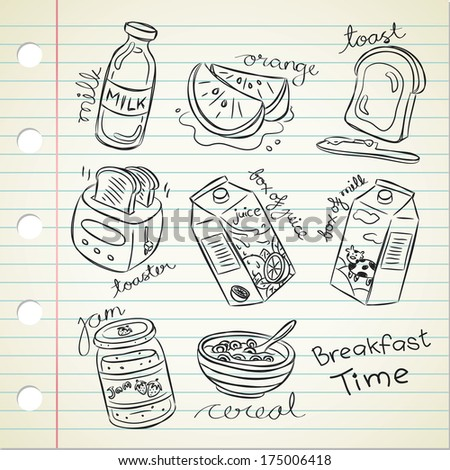 breakfast food in doodle style - stock photo