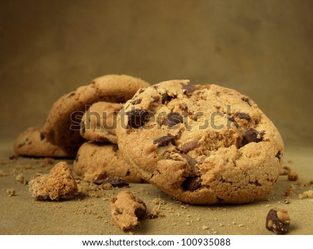 Breakfast foods (chocolate chip cookies)  - stock photo