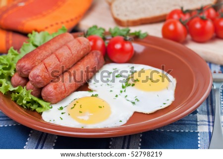 Breakfast fried eggs and sausages - stock photo
