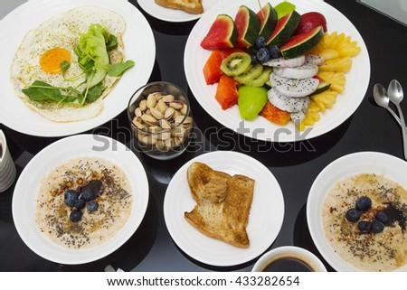 Breakfast. Good morning healthy rich breakfast full of vitamins, protein and fibers. - stock photo