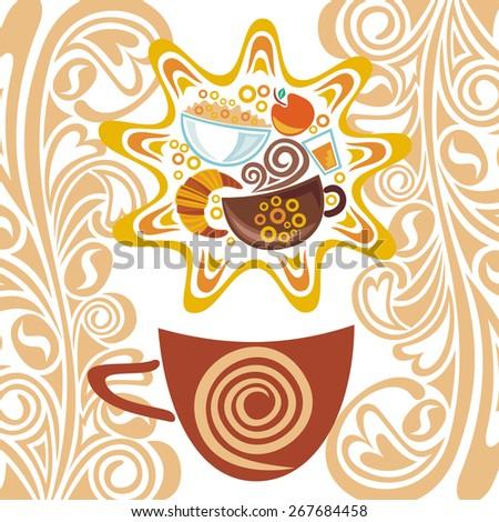 Breakfast illustration - stock photo