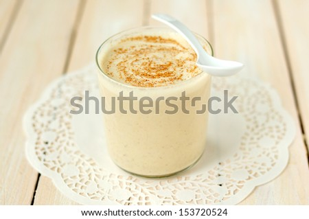 Breakfast in a Glass, banana smoothie - stock photo