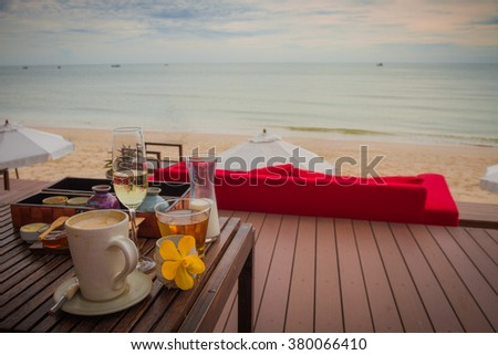 Breakfast in moring on the beach and Sea view , Hua-Hin Thailand