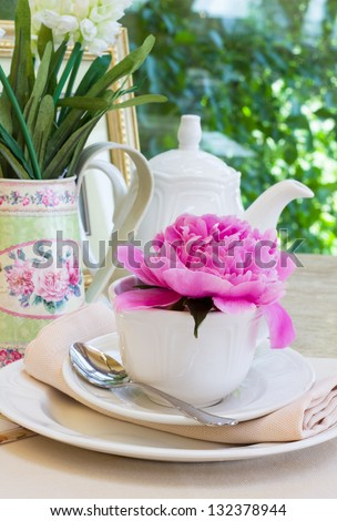 Breakfast in sunny summer day - stock photo