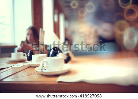 Breakfast in the cafe - stock photo