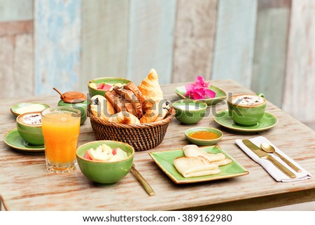Breakfast garden coffee simple food good stock photo 389162980 breakfast in the garden with coffee and a simple food good mood for all day forumfinder Gallery